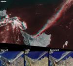 Извержение вулкана Этна. Вверху: стереоскопическое изображение. Внизу: три последовательных вида при пролете спутника. Image credit: NASA/GSFC/LaRC/JPL, MISR Team.