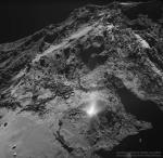 Выброс пыли с поверхности кометы 67P