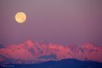 Заход Луны над Альпами и холмом Суперга